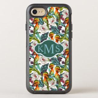 Oiseau et monogramme exotique du motif de fleur | coque otterbox symmetry pour iPhone 7