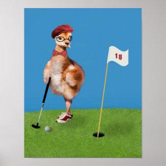 Oiseau humoristique jouant au golf poster