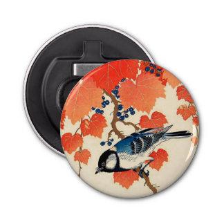 Oiseau japonais vintage de geai et vigne d'automne décapsuleur