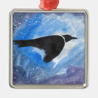 Oiseau la nuit ornement carré argenté