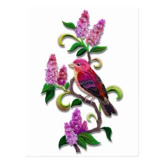 oiseau lilas carte postale