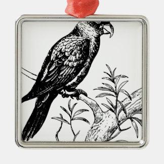 Oiseau Ornement Carré Argenté