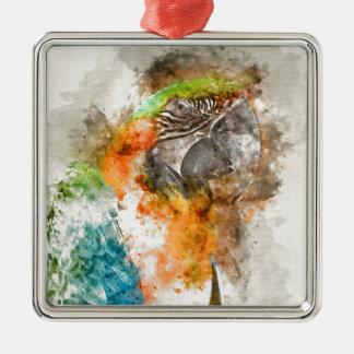Oiseau vert et orange d'ara ornement carré argenté