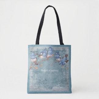 Oiseaux bleus de bonheur - bleu en pastel - sac à