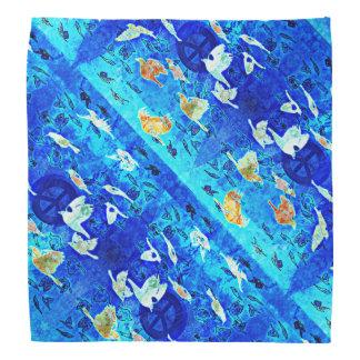 Oiseaux bleus de paix modelés bandana