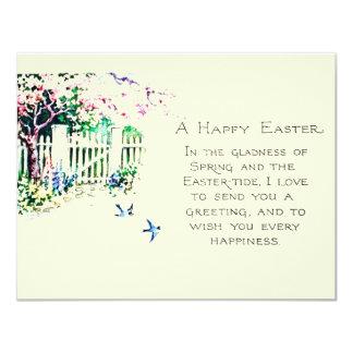 Oiseaux bleus de Pâques chez Eastertide Carton D'invitation 10,79 Cm X 13,97 Cm