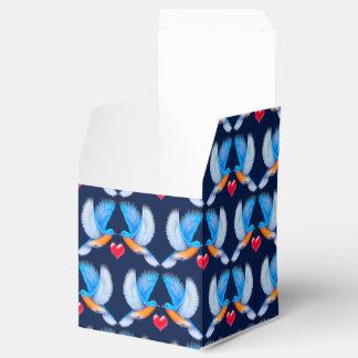 Oiseaux bleus des boîtes de cadeau de bonheur ballotins