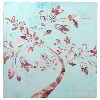 Oiseaux d'abrégé sur rose d'aqua de serviettes de