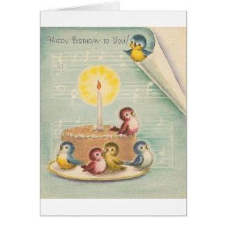 Oiseaux de chant de cru et carte d'anniversaire de