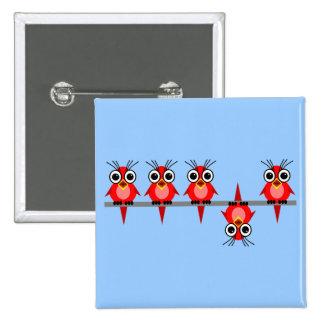 oiseaux drôles badge carré 5 cm