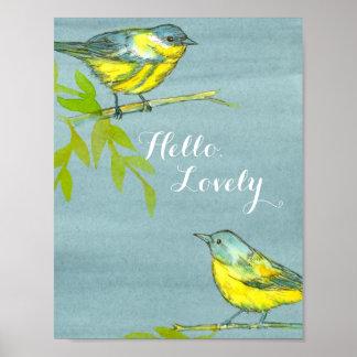 Oiseaux jaunes bonjour beaux poster