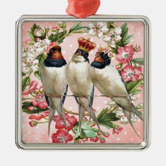 Oiseaux minables vintages et fleurs ornement carré argenté