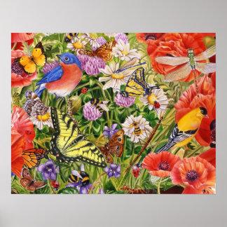 Oiseaux, papillons et abeilles poster