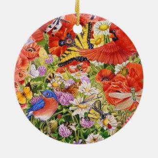 Oiseaux, papillons et ornement en céramique