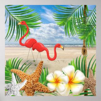 Oiseaux tropicaux de flamant à la plage