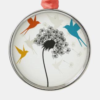 Oiseaux un flower3 ornement rond argenté