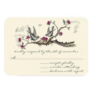Oiseaux vintages de vin chaud épousant des carton d'invitation 8,89 cm x 12,70 cm