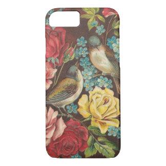 Oiseaux vintages et fleurs coque iPhone 7