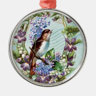 Oiseaux vintages et fleurs sur le bleu ornement rond argenté