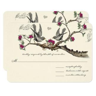 Oiseaux vintages fuchsia et gris épousant des carton d'invitation 8,89 cm x 12,70 cm