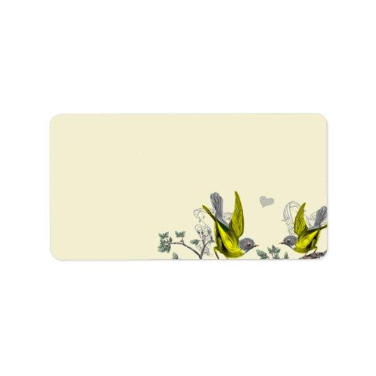 Oiseaux vintages jaunes et feutre gris étiquettes d'adresse