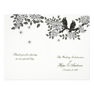 Oiseaux vintages sur le programme de mariage de prospectus 21,6 cm x 24,94 cm