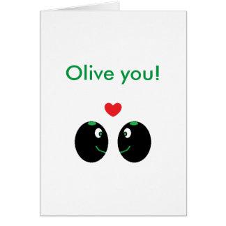 """""""Olive vous"""" je t'aime carte de Saint-Valentin"""