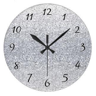 Ombre argenté scintillant grande horloge ronde