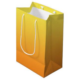 Ombre jaune et orange sac cadeau moyen