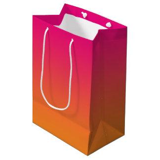 Ombre rose et orange sac cadeau moyen