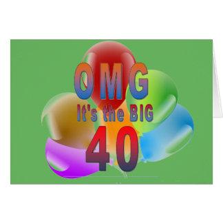 OMG le joyeux anniversaire grands 40 Carte De Vœux