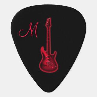 Onglet de guitare d'un rouge ardent de monogramme