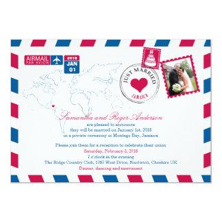 Ontvangst van het Huwelijk van het Luchtpost van 12,7x17,8 Uitnodiging Kaart