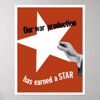 Onze Productie van de Oorlog heeft een Ster verdie Poster