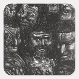 Onze visages grotesques autocollants carrés