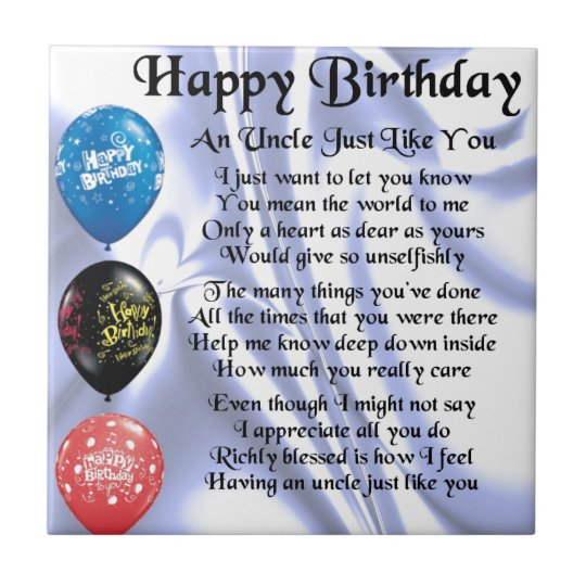 Oom Poem Gelukkige Verjaardag Tegeltje Zazzle Be