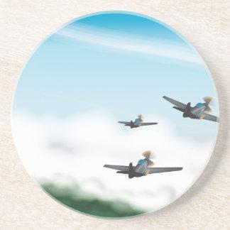 Oorlog van de wereld Twee Vliegtuigen Zandsteen Onderzetter