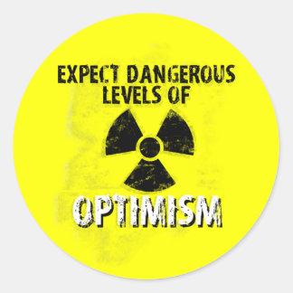 optimisme dangereux sticker rond
