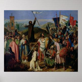 Optocht van Kruisvaarders rond Jeruzalem Poster