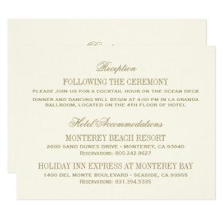 Or antique de la carte détail de mariage | carton d'invitation 10,79 cm x 13,97 cm