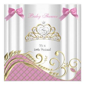Or blanc 3 de petit de princesse baby shower rose carton d'invitation  13,33 cm