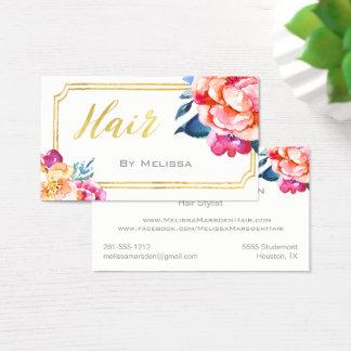 Or blanc floral de carte de visite de styliste en