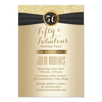 Or chic 50 fabuleux de ruban noir chic carton d'invitation  12,7 cm x 17,78 cm