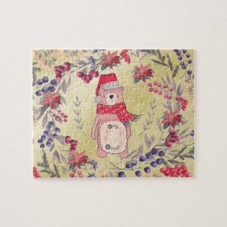 Or de baies d'aquarelle d'ours de Noël Puzzle