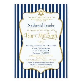 Or de bleu marine d'invitation de Mitzvah de barre Carton D'invitation 12,7 Cm X 17,78 Cm