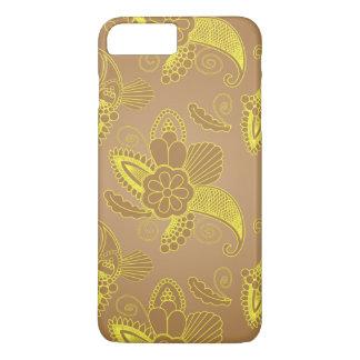Or de Faux Paisley floral sur le motif indien du Coque iPhone 8 Plus/7 Plus