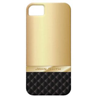 Or de luxe avec le cas nommé fait sur commande de coque barely there iPhone 5