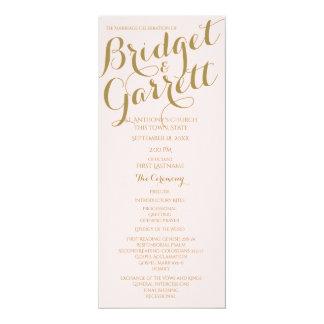Or de programme de mariage des textes de carton d'invitation  10,16 cm x 23,49 cm