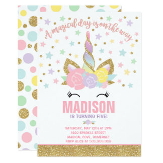 Or de rose d'invitation d'anniversaire de licorne carton d'invitation  12,7 cm x 17,78 cm