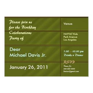 Or d'Emrald avec le texte témoin Carton D'invitation 12,7 Cm X 17,78 Cm